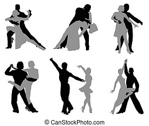 Dancing couples - Silhouettes of the dancing couples, ...