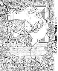 crane adult coloring page - dancing crane adult coloring...