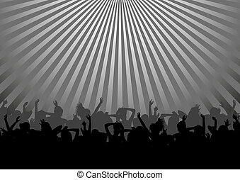 dancing crowd - silhouette of dance party crowd