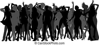 dancing crowd - Silhouettes of dancing people