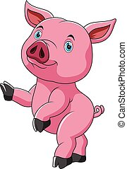 dancing cute cute pig cartoon