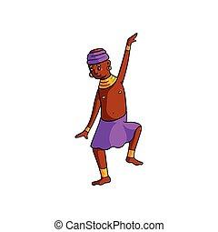 Dancing cute tribe african kid with pink skirt