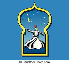 Dancing Devish At Door Frame - Vector illustration of...