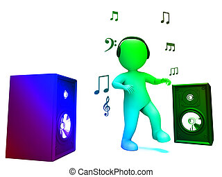 Dancing Disco Character Shows Loud Speakers And Songs - ...