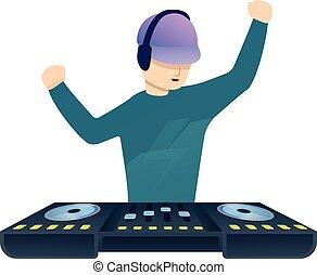 Dancing dj music icon, cartoon style