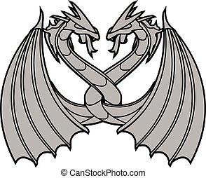 dancing dragons. vector illustration