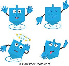 Dancing Dreidel - Cartoon Dreidel in four different...