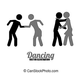 Dancing - dancing icons, vector illustration