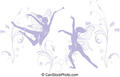 Two dancing fairies in lilac