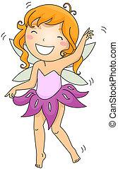 Dancing Fairy - Illustration of a Fairy Dancing Merrily