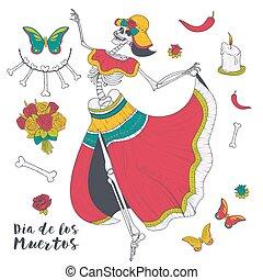 Dancing female skeleton vector