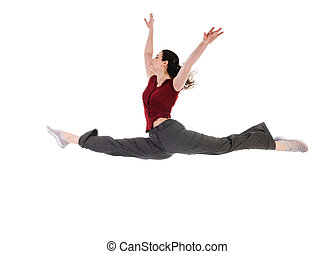 Dancing Female - young attractive female dancer doing the...
