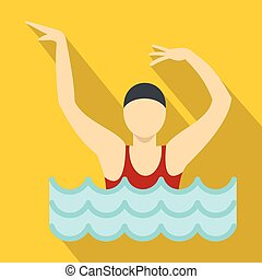 Dancing figure in a swimming pool icon, flat style