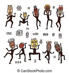 Dancing figures in African masks