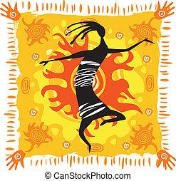 dancing, figuur, op, een, oranje achtergrond