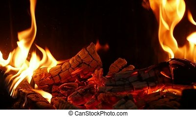 Dancing forks of flame turning wooden logs into grey ash in a fireplace