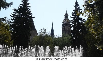 Dancing fountain over cathedral in Kosice - Famous dancing...
