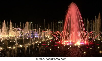 Dancing fountains of ultraviolet colors in Moscow at night....