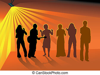 Dancing friends in nightclub - Silhouettes of Musician with...