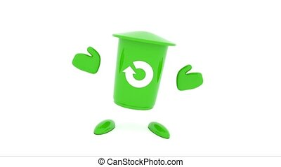 Dancing garbage bin on a white background