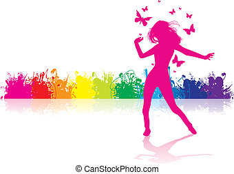 dancing girl - a girl dancing on a splash background
