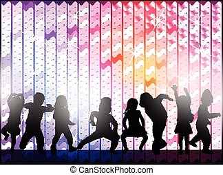 dancing girl and boy with background