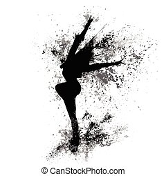 dancing girl black splash paint silhouette isolated white...