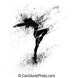 dancing girl black splash paint silhouette isolated white...