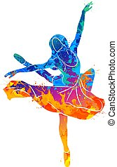 dancing girl colorful - Abstract dancing girl from splash of...