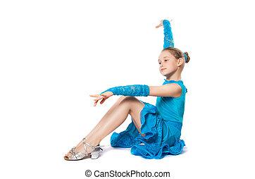 dancing girl in a blue dress