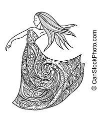 dancing girl in a dress