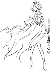 Dancing girl in airy dress - Vector picture with elegant...