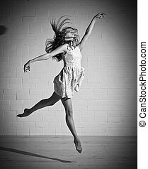 Dancing girl in dress (monochrome ver) - Young dancing girl...