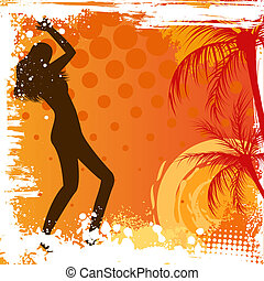 Dancing girl on grunge background