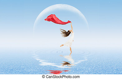 Dancing girl on water surface