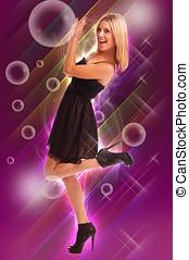 Dancing Girl Pushing Bubbles