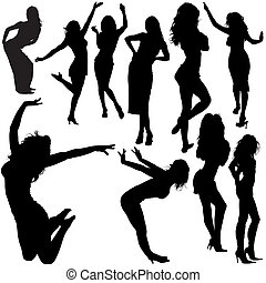 Dancing Girl Silhouettes