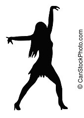 Dancing Girl Spread Arms Pose