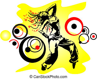 dancing girl in a tattered yellow background with circles of...
