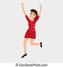 Dancing girl. Vector colored icon on white background.