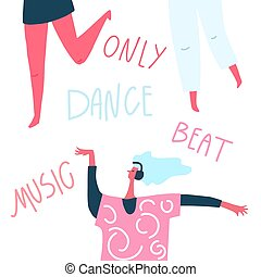 Dancing girl with headphones and hand drawn text : dance music beat