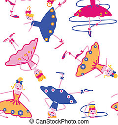 dancing girls seamless pattern