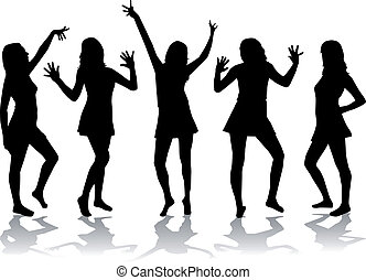 Dancing girls - silhouettes.