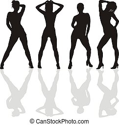 Dancing girls silhouettes - Naked dancers in black...