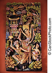 Dancing girls - Wooden pattern-manual with the image dancing...