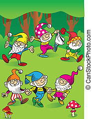 The illustration shows a few funny gnomes in the woods. They play and dance in a circle. Illustration done in cartoon style, on separate layers.