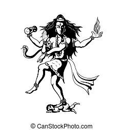 dancing God Shiva - Nataraja, black and white sillhouette...
