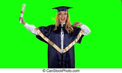 Dancing graduate. Green screen. Slow motion