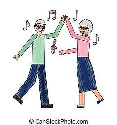 dancing grandpa and grandma happiness
