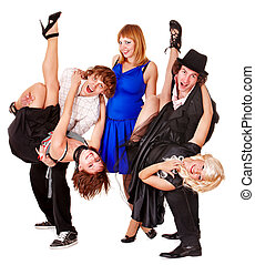 Dancing group people.